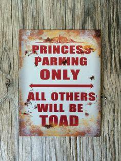 Vintage style tin metal sign // princess parking by RinTinSignCO