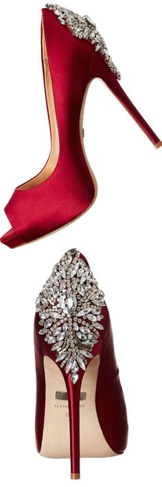 Badgley Mischka 'Kiara' Crystal Back Open Toe Pump RED Pump