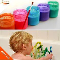 Если Ваш маленький непоседа с неохотой идёт в ванну, значит пора что-нибудь придумать) Предложите ему… порисовать! Мы делимся с Вами рецептом легко смывающихся красок для ванны, чтобы превратить купание в интересную игру! #aistbox, #аистбокс, #летние поделки, #поделки для детей, #развитие ребёнка, #чем занять ребенка, #своими руками