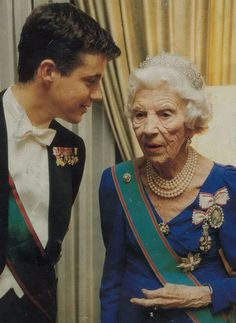 Queen Ingrid and Crown Prince Frederik of Denmark.