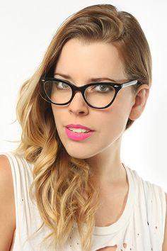 Solid Frame Cat Eye Glasses - Black - 1030-2