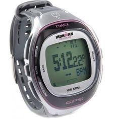 Timex Women's T5K629 Ironman Run Trainer GPS Speed + Distance Silver-Tone/Pink Resin Strap Watch