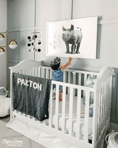 This baby Rhino steals the show in trend setter, Brit Horton's new nursery. The artwork is part of Paper Llamas baby animal collection. Perfect inspiration for a neutral natural grey nursery. White Nursery, Nursery Neutral, Neutral Nurseries, Baby Boy Rooms, Little Girl Rooms, Jungle Baby Room, Sophisticated Nursery, Baby Rhino, Scandinavian Nursery