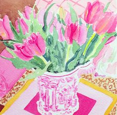 pretty pink tulips: Celebrating with Friends & Tulips Perfect Pink, Pretty In Pink, Pink Punch, Watercolor Mixing, Pink Room, Pink Tulips, Pretty Pictures, Illustration Art, Illustrations