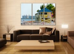 Miami Crandon Park Canvas Print 3 Panels Print Miami Art Wall Deco Fine Art Photography Repro Print for Home and Office Wall Decoration by ZellartCo TAGS beach ocean sky lifeguard tower room decor florida wall art gift miami beach biscayne summer crandon park fine art photography multi panel canvas