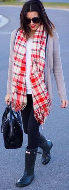Rainy day...love the scarf...a pop of color with black wellies!