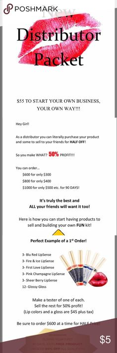 FREE LIPSENSE COLOR! Hi ladies! I am offering a free lipsense color of your choice when you sign up to become a distributor! You don't even have to sell product if you sign up, you can do it just for the discount! As a fellow distributor you get great discount and access to many many colors! Free color is $25 value (: lipsense Makeup Lipstick