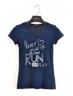 Dámske tričko Just Run - Dámske tričká s krátkym rukávom - Dámske tričká - Dámske oblečenie - JUSTPLAY Just Run, T Shirts For Women, Mens Tops, Blue, Fashion, Moda, Fashion Styles, Fashion Illustrations