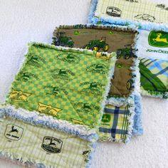 John Deere Blue and Green Rag Burp Cloths - definitely making some of these sometime