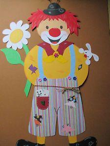 Fensterbild tonkarton karneval fasching fenstergucker clown blume deko neu t rclown - Fensterbilder karneval ...