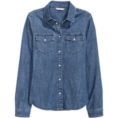 H&M Fitted Denim Shirt $14.99 (47 BRL) ❤ liked on Polyvore featuring tops, shirts, denim, my clothes, blouses, blue denim shirt, blue top, fitted shirts, round hem shirt and blue fitted shirt