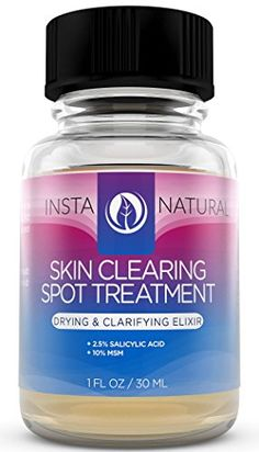 InstaNatural Skin Clearing Spot Treatment  Salicylic Acid  MSM Formula  Natural Blemish  Pore Minimizer  Shrink Whiteheads  Clear Skin  Works on Hormonal  Stress Induced Pimples  1 OZ *** Click on the image for additional details.