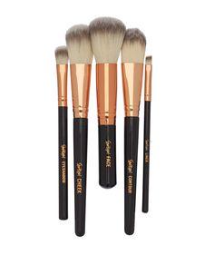 Sportsgirl BRUSH WITH FAME BLACK & ROSE GOLD // 5 brush set $19.95