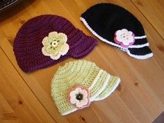 crocheted baby and toddler hats