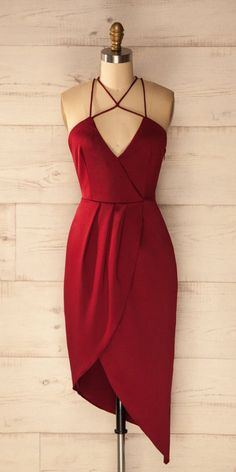homecoming dresses ,Sheath V-Neck Sleeveless Criss Cross Burgundy Satin Asymmetrical Homecoming Dress