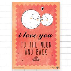 i love you to the moon and back poster (turquoise, peach, quote, nursery, house warming, gift, wedding, valentine's day) by OipsStore on Etsy