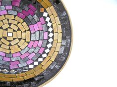 Purple yellow glass mosaic bowl with mirror by SirliMosaic on Etsy, €35.00