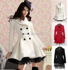 Coat Outerwear - Buy Sale 2013 Autumn Winter White Wool Blends Outerwear Skirt Design Red Black Cute Fashion Ladies Slim A-Line Warm Coat Clothes.| DHgate