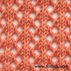 Only two pattern rows - Row 1 (right side): *k3, yo, double vertical decrease, yo*, repeat from * to * to end. Row 2 and every wrong side row: purl all stitches. Row 3 (right side): *yo, double vertical decrease, yo, k3*, repeat from *