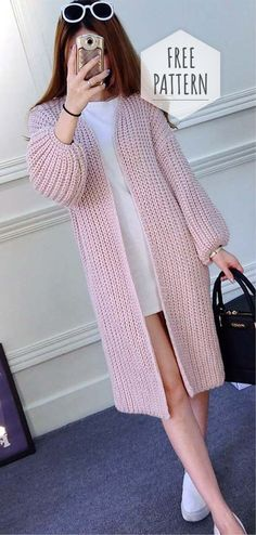 Cardigan Pattern can crochet or knit no specification! - Cardigan Pattern can crochet or knit no specification! Beginner Knitting Patterns, Knitting Designs, Knitting Ideas, Knitting Projects, Easy Knitting, Crochet Designs, Crochet Projects, Crochet Cardigan Pattern, Crochet Jacket