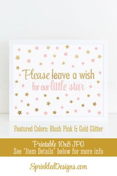 Leave A Wish for our Little Star - Little Star Baby Shower or Birthday Guest Book Sign - Blush Pink Gold Glitter - Printable Party Sign 10X8