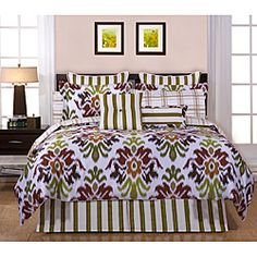 @Overstock - Montgomery 12 pc Cal King Bed Ensemble - Includes - Comforter, 2 Shams, 1 Bed Skirt, 1 Flat sheet, 1 Fitted Sheet, 2 King Pillowcases, 2 dec. pillows, and 2 Euro shams.http://www.overstock.com/Bedding-Bath/Montgomery-Cal-King-size-12-piece-Bed-in-a-Bag-with-Sheet-Set/6358935/product.html?CID=214117 $159.99