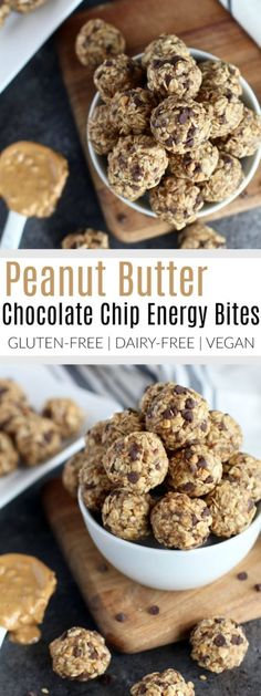 Peanut butter and chocolate come together with whole grain oats, flax and chia seeds in these Peanut butter Chocolate Chip Energy Bites. A healthy gluten-free, dairy-free, vegan-friendly snack or pre-workout fuel.   The Real Food Dietitians   https://therealfoodrds.com/peanut-butter-chocolate-chip-energy-bites/