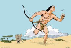 """Extrait du """"Roi de la Jungle"""", le prochain album d'Hubert Mounier, aka Cleet Boris, qui poursuit son exploration des mythes de la bande dessinée populaire. """"Je me fais plaisir dans la savane africaine"""", commente le dessinateur en nous envoyant cette image de son second livre en préparation pour les Éditions Dupuis. (parution : 2016) #BD #Tarzan #Jungle http://www.dupuis.com/auteurbd/cleet-boris/1282"""