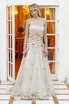 Style *ORCHID » Wedding Dresses » Pearl Bridals » Available Colours : Champagne/Gold, Ivory, White (Shown with completely Beaded Empire bodice with small Flowers & Petals around waistline that gently fall throughout skirt with Beaded Vine Motif)