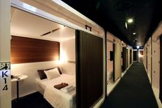 You will probably be staying at a hotel room sooner or another. Sleep Box, Sleeping Pods, Capsule Hotel, Hotel Room Design, Dormitory, Small Spaces, House Design, Home, Tokyo Japan