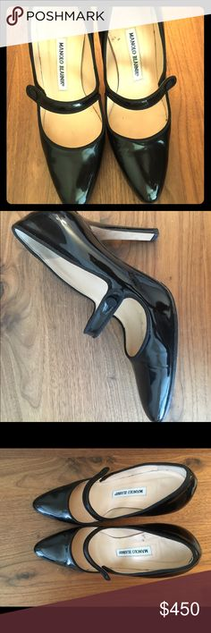 a3d808f904e2 Manolo Blahnik Mary Jane Black Patent leather heel Authentic guaranteed.  Worn three times at weddings