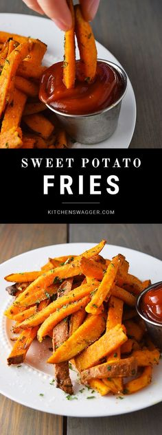 Restaurant style baked sweet potato fries seasoned with garlic paprika salt and pepper.