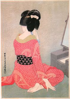 Before Mirror by Hakuho Hirano, 1932 (published by Watanabe Shozaburo)