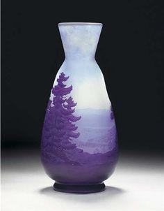 cameo glassware | Cameo Glass Landscape Vase