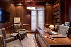 Wood Paneling Adds Elegance And Warmth To Your Home Office – Stylish Decor Office Cabin Design, Law Office Design, Law Office Decor, Modern Office Design, Office Interior Design, Luxury Interior Design, Office Interiors, House Design, Gold Coast