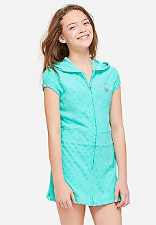 5e21cfca16f69 Justice Little Girls' Toddler turquoise bathing suit coverup size 3T ...