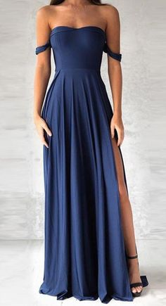 elegant navy blue prom dress, fashion off the