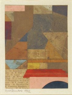 Cut-and-pasted colored and printed paper on paper. The Sidney and Harriet Janis Collection. © 2017 Artists Rights Society (ARS), New York & VG Bild-Kunst, Bonn. Drawings and Prints Kurt Schwitters, Painting Collage, Collage Art, Paintings, Collages, Museum Of Modern Art, Art Plastique, Geometric Art, Artist Art