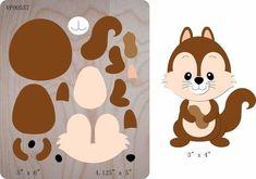 Squirrel die cut accessories wooden die Regola Acciaio Die Misura Y Felt Animal Patterns, Felt Crafts Patterns, Stuffed Animal Patterns, Diy And Crafts, Crafts For Kids, Paper Crafts, Paper Toys, Sewing Dolls, Felt Toys