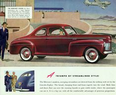 Mercury Coupe 1941 Derived Lincoln Zephyr | Mad Men Art | Vintage Ad Art Collection