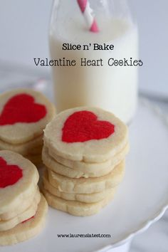Homemade Slice 'n Bake Valentine Cookies - this lady is a genius!  I refuse to buy those tube cookies -  she's going to make so many kids happy!