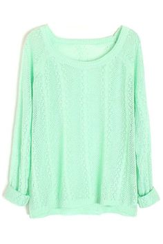 Hollowed Dolman Sleeves Green Sweater
