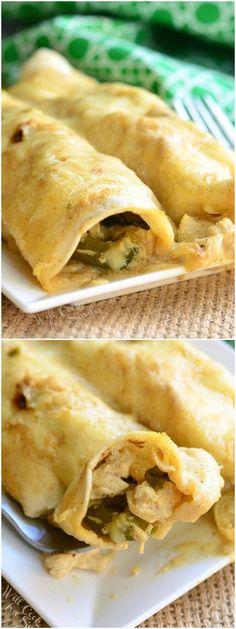 Roasted Poblano and Chicken Enchiladas | from willcookforsmiles.com #dinner #chicken