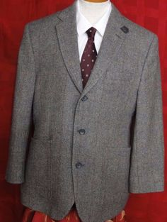 Joseph Abboud Men's Gray Tweed 3 Button Sport Coat with Leather Patches Size 40S #JosephAbboud #ThreeButton