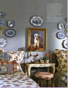 Charles Faudree Interiors: the blue & white collection, the dog painting.