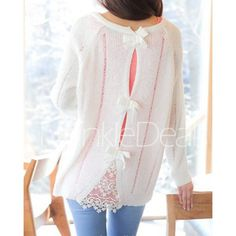 Stylish Scoop Neck Long Sleeve Hollow Out Bowknot Embellished Women's Sweater