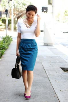 bright skirt and shoes, balanced out with a plain white top