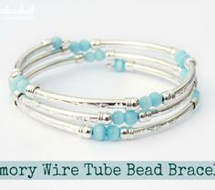 Memory Wire Tube Bead DIY Bracelet:  would be cute to do w/ kids birthstone beads
