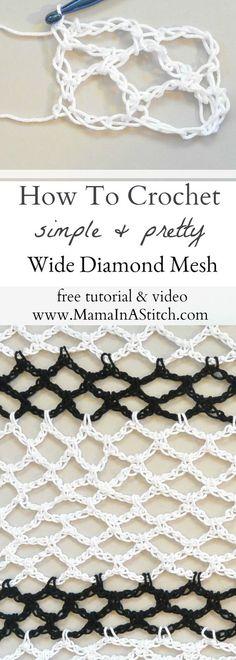 How To Crochet Diamond Mesh Stitch via @MamaInAStitch