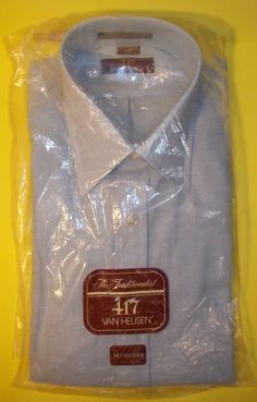 Van Heusen 14 1/2 Half Sleeve Light Blue Summer Button Down Casual Men's Shirt #VanHeusen #ButtonFront